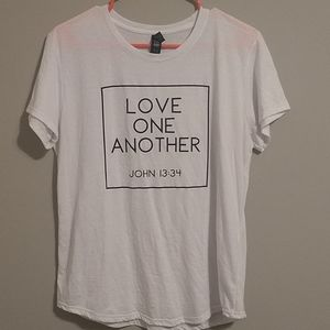 Women's faith inspired t-shirt, love one another